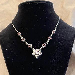 Gorgeous multi stone silver necklace